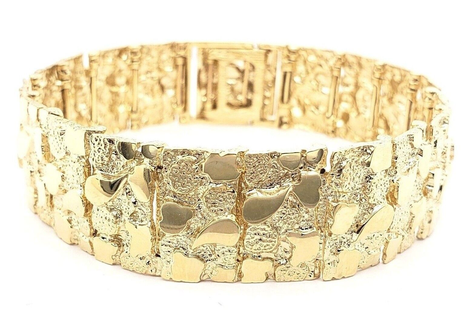 9ac888583e3aa Details about Men's 14k Yellow Gold Solid Nugget Bracelet Link 7.5