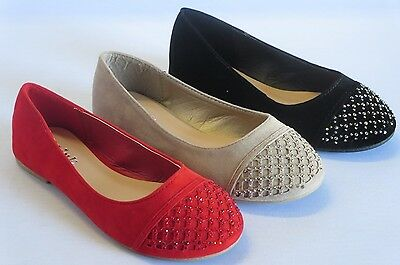 Girls Rhinestone Flats Dress Shoes (moya18k) Youth Red Black Taupe RUN BIG Girls Red Rhinestone
