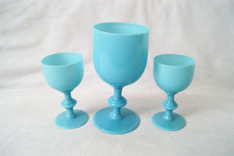 Lot of 3 Vtg Portieux Vallerysthal French Blue Opaline Milk Glass Wine Goblets