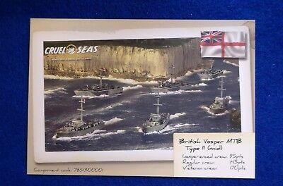 Warlord Games Cruel Seas British Vosper data card - Sea Data Card