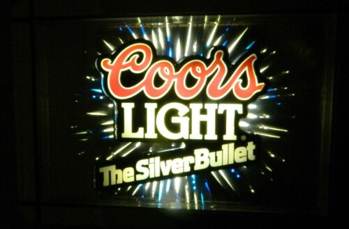 RARE 1990 Coors Light Silver Bullet Sign Mirrored STARBURST MOTION Lighted Sign