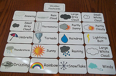 Weather flash cards.  Preschool and Pre Kindergarten learning activity.  20 card