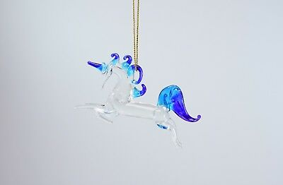 Hanging Unicorn Purple and Blue Clear Figurine of Blown Glass Crystal