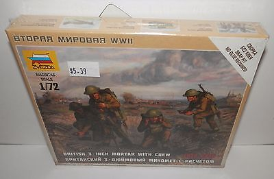 "Zvezda 1:72 British 3"" Mortar with Crew 1939 - 1945 #6168 NIP"