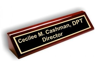 Personalized Business Desk Nameplate, Rosewood Piano Finish, 2