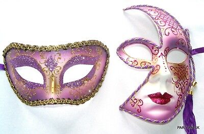 MASQUERADE HALLOWEEN HIS & HERS LILAC GLITTER MEN'S HALF AND LADIES SPLIT FACE ()