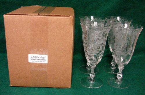 Cambridge ROSEPOINT 3121 Ice Tea Glasses SET OF FOUR Mint in BOX More Available