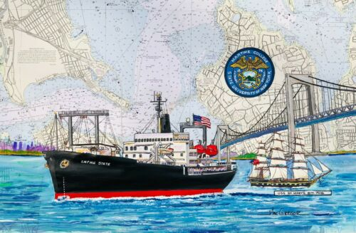 Suny Maritime College art print TS Empire State USS St Marys Privateers New York