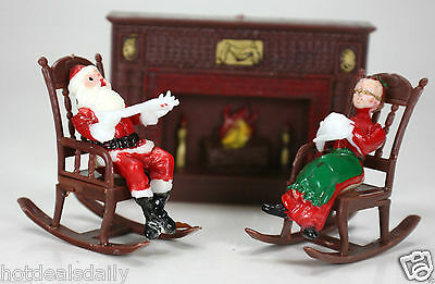 - 10 PC LOT CHRISTMAS CAKE TOPPER MR AND MRS SANTA CLAUS FIREPLACE ROCKING CHAIR