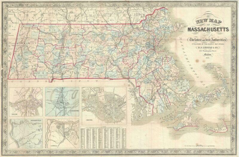 1868 Dutton Pocket Map of Massachusetts
