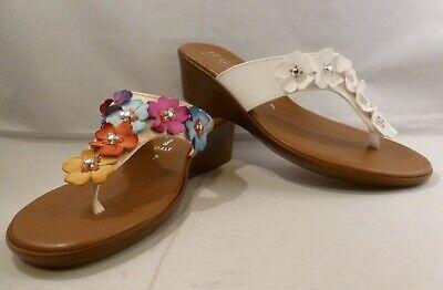 NIB DAMIANI'S Italian Shoemakers ZANE Cushioned Flip Flop Flower Wedge Sandals