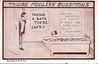 Those Foolish Questions Taking a Bath There Comic Postcard