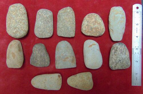 C4) 12 pcs Neolithic Celts North Africa Sahara Artifacts old lot scraper celt