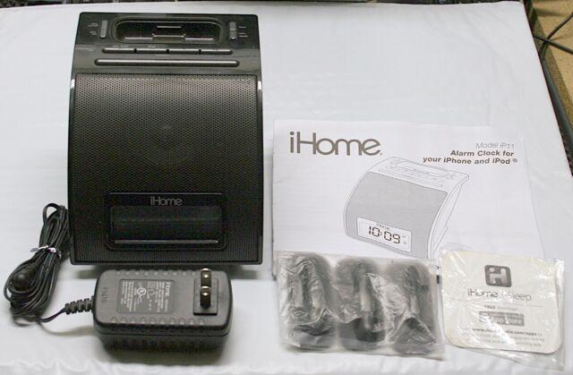 IHOME IP11 (30-PIN) IPOD/IPHONE ALARM CLOCK SPEAKER DOCK - IP11BVC