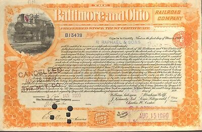 1900 BALTIMORE AND OHIO RAILROAD CO. STOCK CERTIFICATE - VINTAGE ORIGINAL