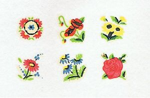 6-Sets-of-6-Miniature-Daisy-Rose-Floral-Dolls-House-Furniture-Transfer-Decals