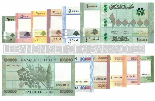 Lebanon set of 6 banknotes UNC ( 2012 - 2019 ) 1000 to 100000 Livres