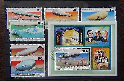 Upper Volta 1976 Zeppelin set and Miniature sheet VFU