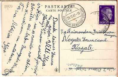 Latvia Lettland Germany (Ostland), 1942, Viewcard with German post cancel TALSEN