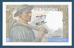 FRANCE-10-FRANCS-MINEUR-Fayette-n-8-9-9-9-1943-C-J-57-52042-en-NEUF