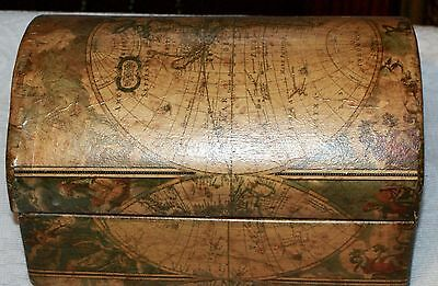 Handsome Ceramic Home Office Desk Chest With Vinyl Paper World Map Covering