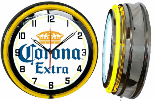"19"" Corona Extra Beer Sign Double Neon Clock Yellow Mancave Bar Gameroom Garage"