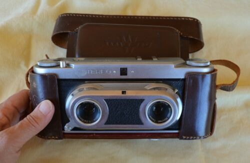 VTG German Wirgin Stereo Camera & Case Steinheil Munchen Cassar 1:3.5/35mm