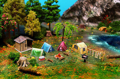 Camping Tent Fishs Grill Restroom & Fire Set N Scale Building DIY Cardstock Kit - Diy Camping Tent
