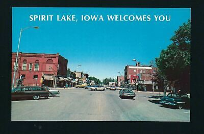 Spirit Lake Iowa IA 1978 Hill Ave Stores, Royal Theater Corner, 50s 60s 70s Cars
