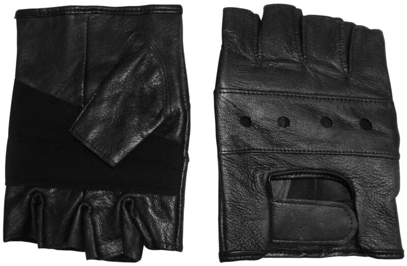 NICE CAPS Mens Adults 100% Genuine Leather Biking Biker Gloves With Air Holes