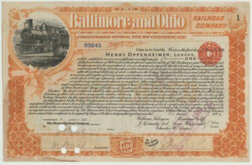 1899 Baltimore & Ohio B&O Railroad Company Stock Certificate