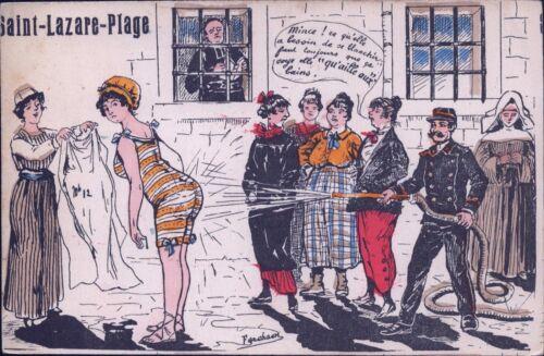 France Paris Saint-Lazare-Plage Fire Brigade - Very Old Artist Postcard (Y-8618