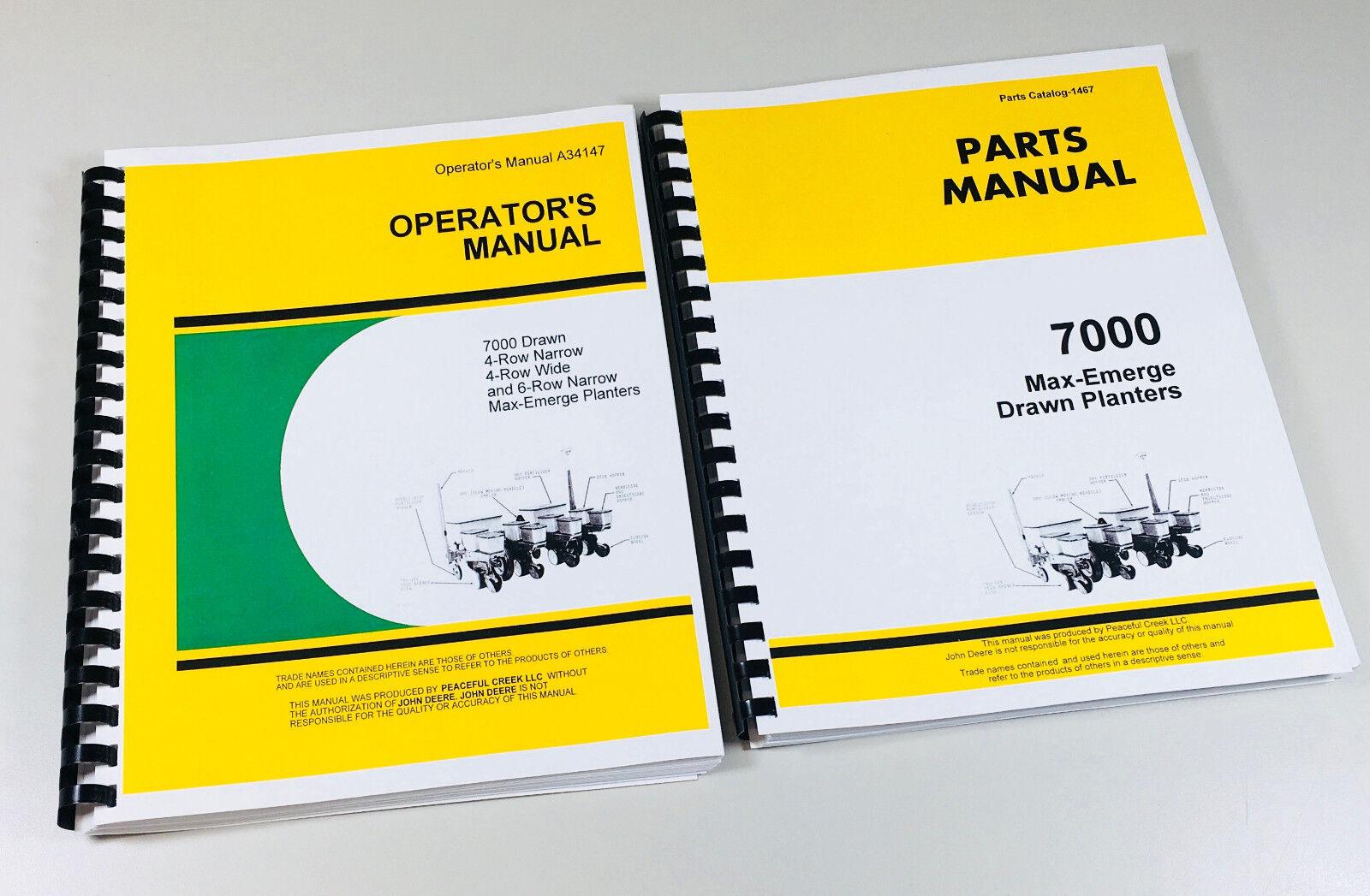 Operators Parts Manual Set John Deere 7000 Drawn Max Emerge Planter