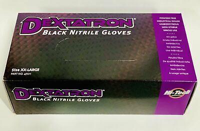 Dextatron Disposable Nitrile Gloves, Black & Powder Free, 100 Gloves (XXL)