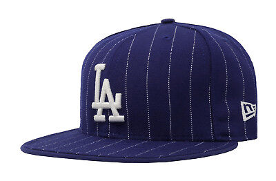 New Era Cap Pinstripe Cap (New Era 59Fifty Cap MLB Los Angeles Dodgers Blue White Pinstripe Hat Headwear)
