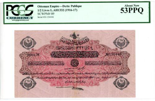 Turkey / Ottoman ... P-89 ... 1/2 Livre .. L.AH1332(1916-17) *AU-UNC* PCGS 53PPQ