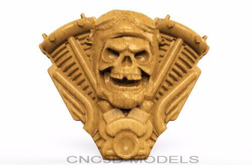 3D Model STL for CNC Router Engraver Carving Artcam Aspire Skull Biker 8607