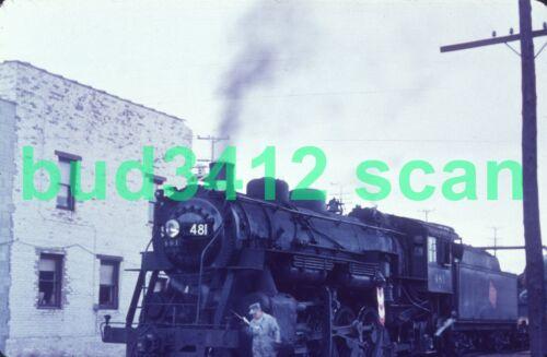 MILW Milwaukee Road STEAM #481 at Waukesha WI 1953 DUPLICATE Slide!