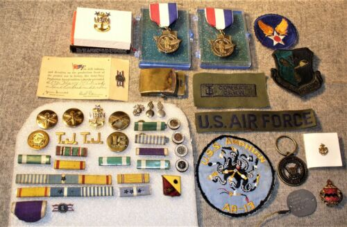 Vintage Military Lot-Navy-USN-WWII-Pins-Bars-Patches-Medals-Insignia-Dog Tag