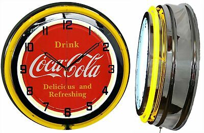 "19"" Drink Coca Cola Delicious and Refreshing Yellow Neon Clock Chrome Finish"
