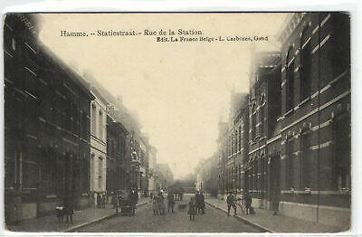 1 Postcard East flanders Hamme Statiestraat - Rue de la Station pcbelmix8285
