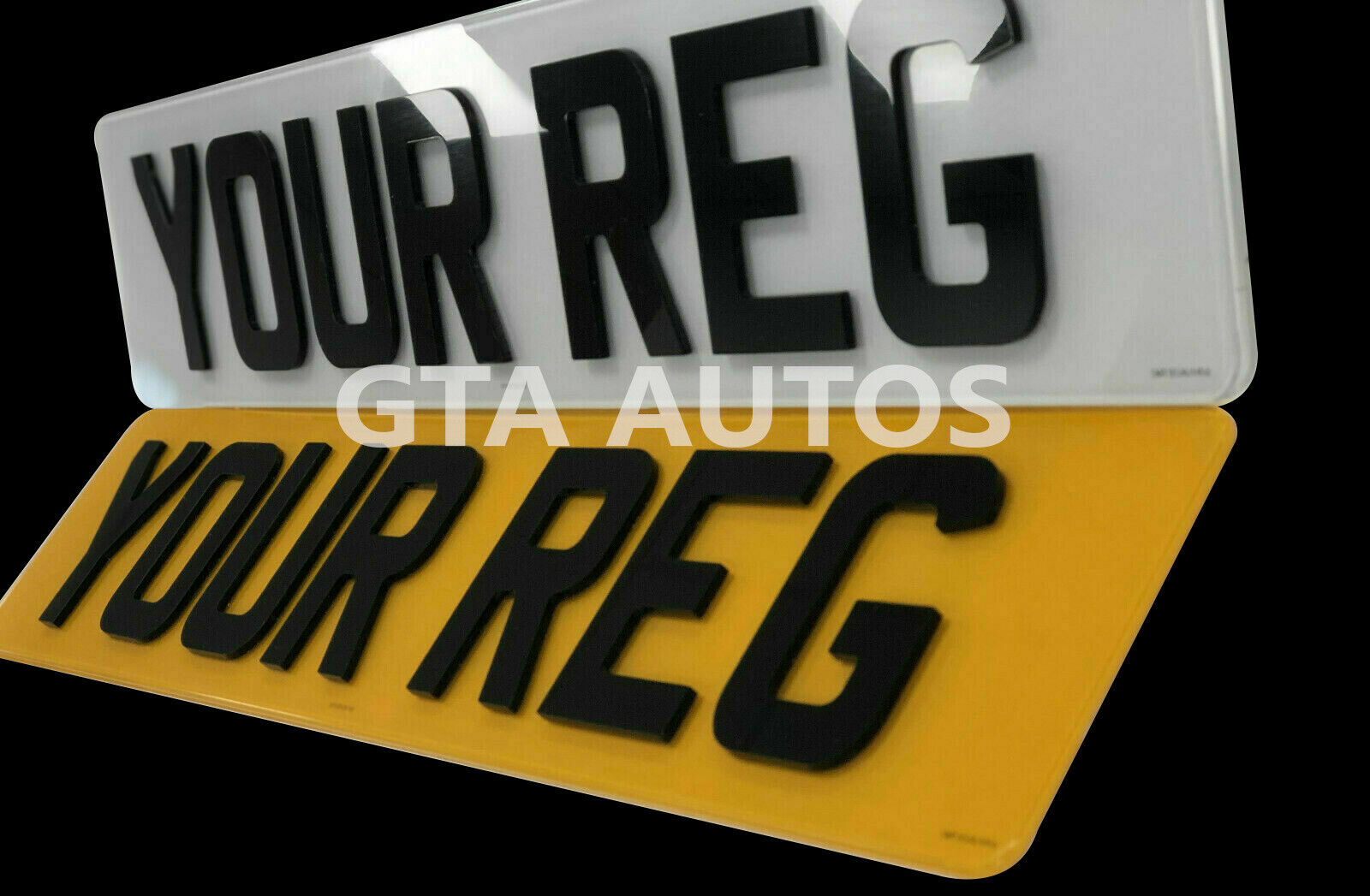 Car Parts - Pair Of Road Legal 4D 3D Laser Cut Raised Gloss Black Car Reg Number Plates