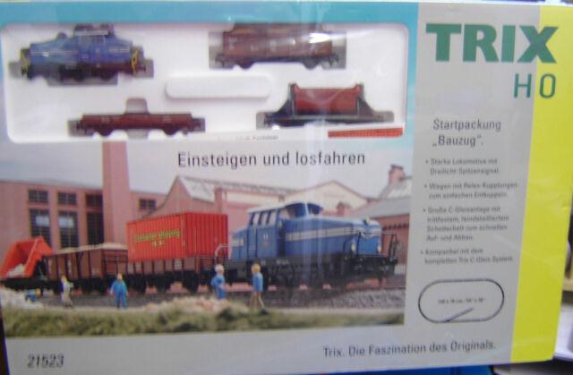 "Trix HO 21523 Startset Bauzug ,Schienenoval m. Nebengleis + Fahrregler ""Neu"""