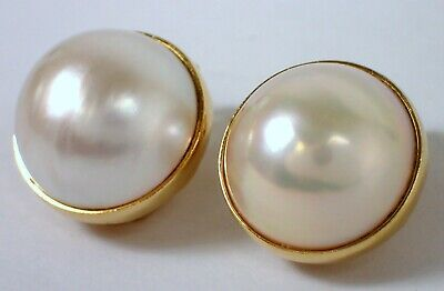 MIKIMOTO Estate Vtg HUGE 16mm Mabe Pearl 18k Yellow Gold Bezel Clip Earrings  16mm Mabe Pearl
