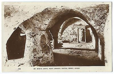 Vintage Postcard CHANNEL ISLANDS Jersey ST MARY'S CRYPT Mont Orgueil Castle RP