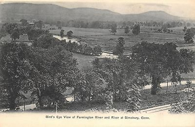 Simsbury Connecticut Birdseye View Farmington River Road Rr Tracks 1905 B W Pc