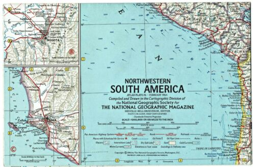 ⫸ 1964-2 February Vintage NW NORTHWEST SOUTH AMERICA National Geographic Map A1