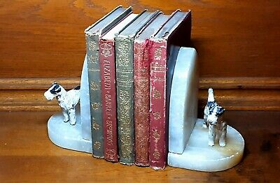 VINTAGE ART DECO COLD PAINTED SPELTER ALABASTER TERRIER DOG BOOKENDS