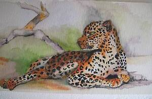watercolour painting of leopard Dungog Dungog Area Preview