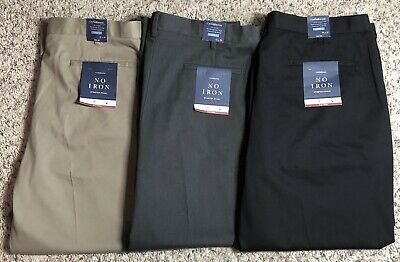 Men's Croft & Barrow No Iron Stretch Khaki Classic-Fit Flat-Front Pants, (Matte Khaki)